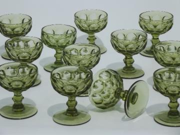Verde green whirlpool pattern glass goblets, 12 vintage champagne glasses