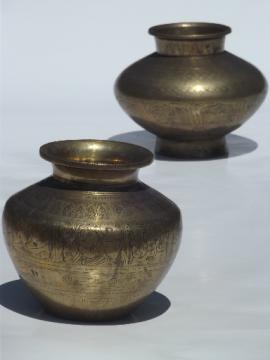 Very heavy old engraved brass urns, solid brass jar vases heavily tooled