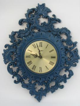 Very ornate vintage Burwood frame wall clock, french blue over gold