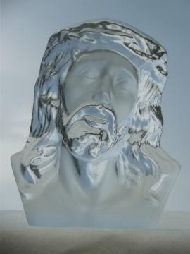 Viking art glass Jesus, 70s vintage Viking glass paperweight