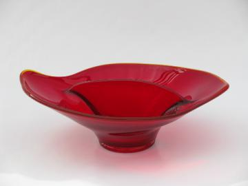 Viking Epic retro vintage free-form dish, ruby red glass divided bowl