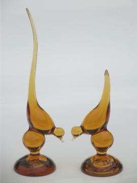 Viking Epic vintage amber glass bird set, 60s mod art glass birds