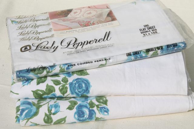 vintage 100 cotton sheets w retro blue roses floral print flat sheet lot for fabric