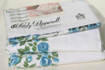 vintage 100% cotton sheets w/ retro blue roses floral print, flat sheet lot for fabric