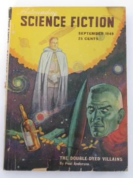 Vintage 1940s Astounding Science Fiction sci-fi magazine w/pulp cover art, Poul Anderson