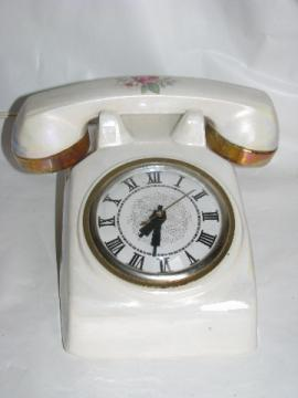 Vintage 1950s vanity bedside table china telephone clock