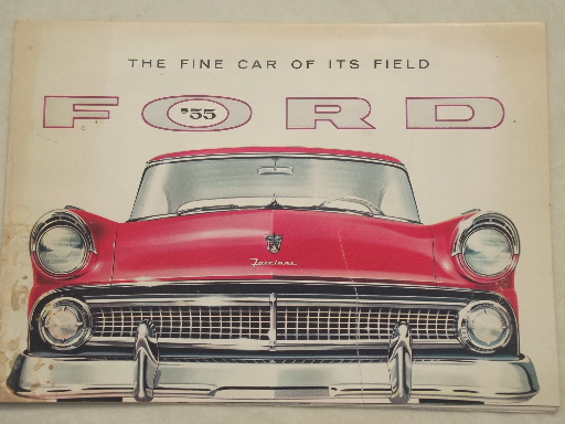 & Vintage 1955 Ford Fairlane Town Sedan color booklet w/ Ford car lineup markmcfarlin.com