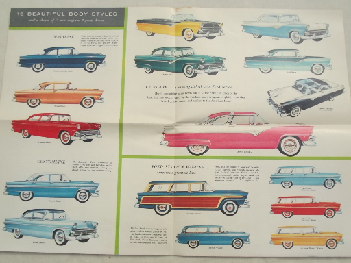 Vintage 1955 Ford Fairlane Town Sedan color booklet w/ Ford car lineup & 1955 Ford Fairlane Town Sedan color booklet w/ Ford car lineup markmcfarlin.com