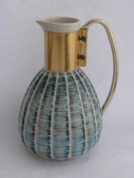 Vintage 1957 Miller ceramic carafe, mod blue & black hand-painted pottery jug