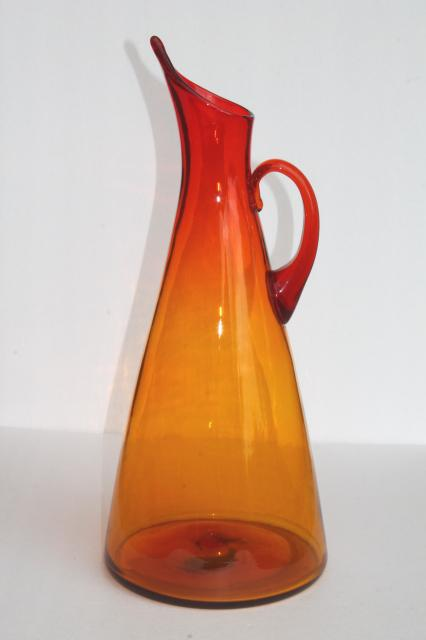 Vintage 1963 Blenko Glass Pitcher Anderson 976 Tall Wide