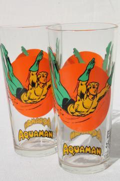 vintage 1976 Pepsi Aquaman superhero character glasses
