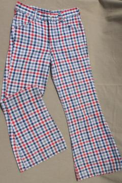 Vintage 1976 Toughskins red white & blue bell bottoms, wide leg flares jeans 28 waist