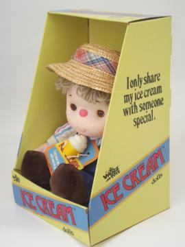 Vintage 1980 Ice Cream doll in original box, boy doll w/ straw hat