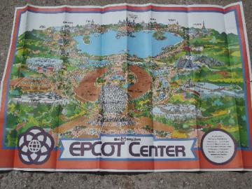 Vintage 1982 Epcot Center Disney World theme park poster map print