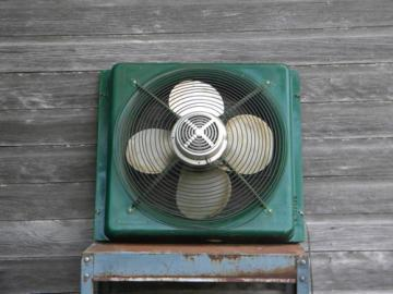Vintage 20 inch industrial machine-age window intake/exhaust fan
