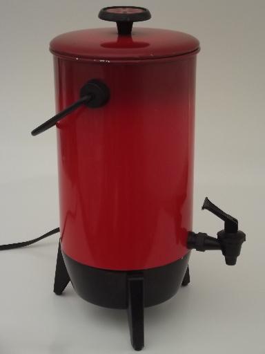 Vintage 22 cup electric percolator, retro poppy red Mirro coffee maker pot