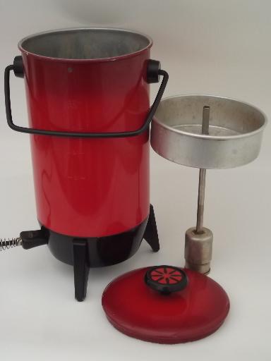 Mirro Percolator Coffee Maker : Vintage 22 cup electric percolator, retro poppy red Mirro coffee maker pot