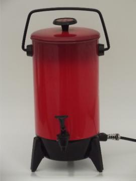 Vintage 22 cup electric percolator, retro poppy red Mirro coffee maker pot