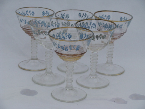 Vintage 40s - 50s wine glasses, blue flowers glass goblets w/ gold trim