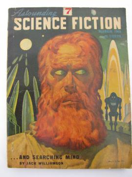 Vintage 40s sci-fi stories, Astounding Science Fiction magazine, Mar 1948 w/pulp cover art