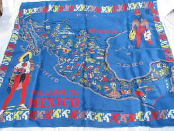 Vintage 50s - 60s rayon scarf, Mexican map print, souvenir of Mexico