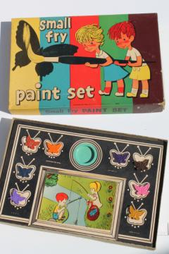Vintage 50s 60s small fry watercolor paint set w/ butterfly shape color tablets