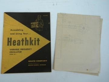 Vintage 50s Heathkit manual/drawings for variable frequency oscillator VF-1