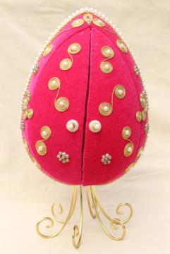 vintage 60s 70s LeeWards beaded pink flocked velvet egg shadow box ornament w/ doors that open