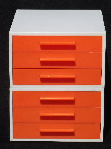 Vintage 60s 70s Modular Stacking Drawers Paper Trays