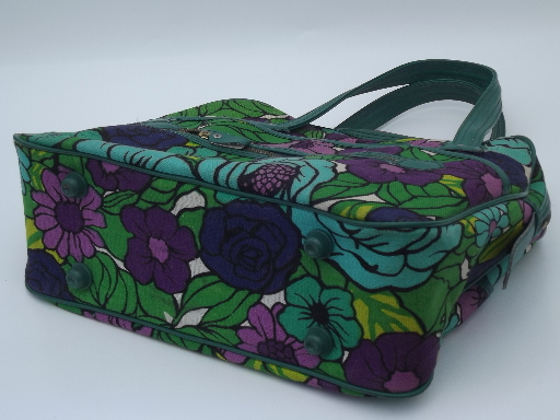 Vintage 60s 70s satchel purse, bright retro floral print handbag