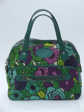 Vintage 60s 70s satchel purse, bright retro floral print handbag