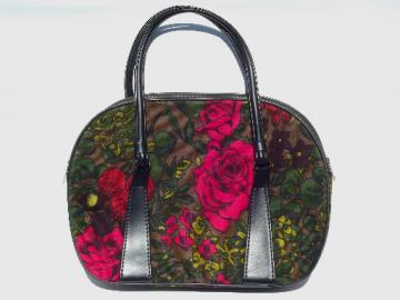 Vintage 60s 70s satchel purse, retro roses floral print weekender handbag