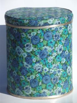 Vintage 60s flowered print vinyl laundry hamper w/ retro hat box shape!