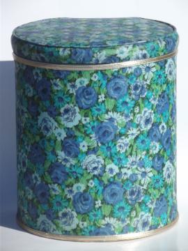 Vintage 60s flowered print vinyl laundry hamper w/ retro hat box shape!