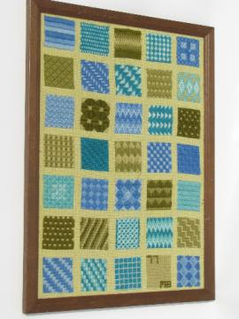 Vintage 70s modern art needlepoint stitch sampler picture, framed hanging