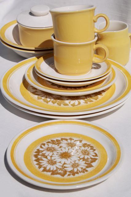 vintage 70s sunshine yellow daisy print ironstone china set happy retro dishes! & vintage 70s sunshine yellow daisy print ironstone china set happy ...