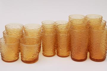 vintage Anchor Hocking Soreno crinkle texture drinking glasses, retro amber gold glass