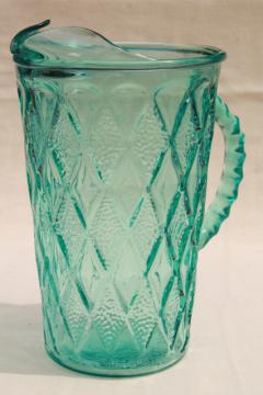 vintage Anchor Hocking gemstone diamond pattern pitcher in aqua aquamarine glass