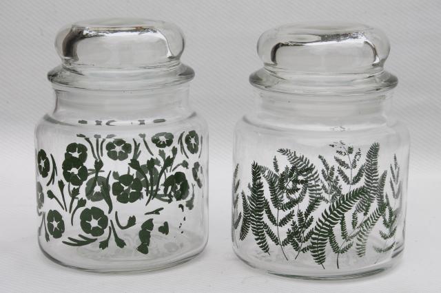 vintage anchor hocking glass kitchen canister jars green