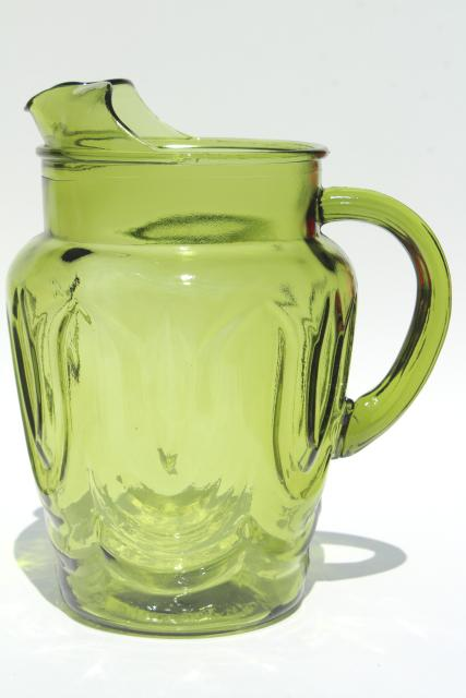 vintage Anchor Hocking tulip pattern pitcher & drinking glasses, Colonial green