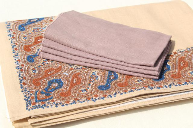 vintage Anne Klein paisley print border pure linen tablecloth, solid napkins