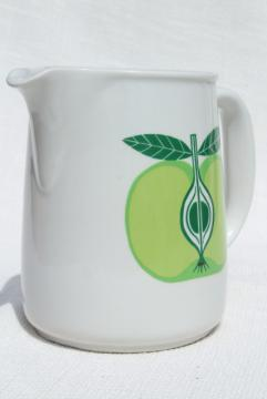 vintage Arabia Finland Pomona green apple white ceramic pitcher