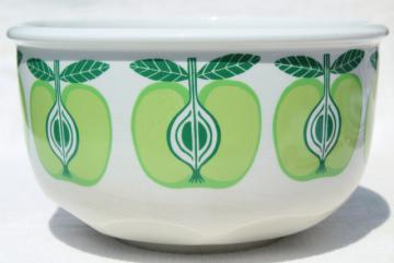 vintage Arabia Finland Pomona green apple white ceramic salad bowl
