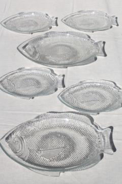 vintage Arcoroc French glass poisson fish shaped plates & platter trays set