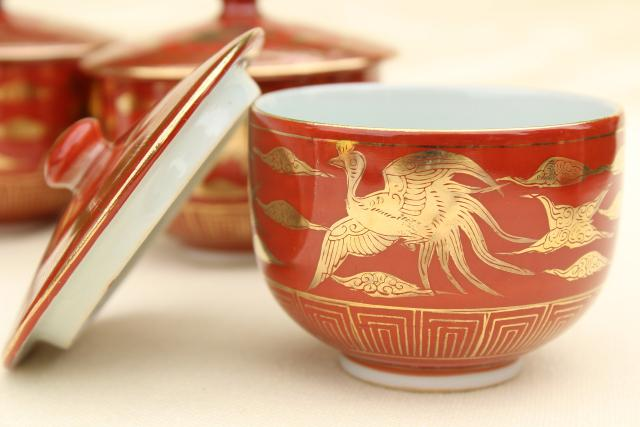 vintage Arita Japan hand painted porcelain tea set, cinnabar red & gold phoenix dragon