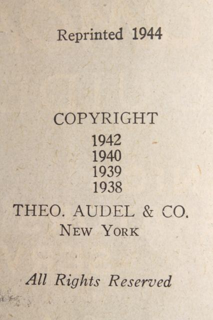 vintage Audels Automobile auto guide, 1944 edition 1938 - 42 copyright dates
