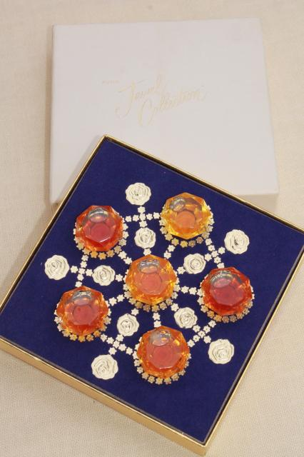vintage Avon Jewel Collection, full glass perfume bottles in original box