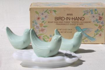 vintage Avon bird in hand guest soaps set, milk glass soap dish w/ bluebird soap