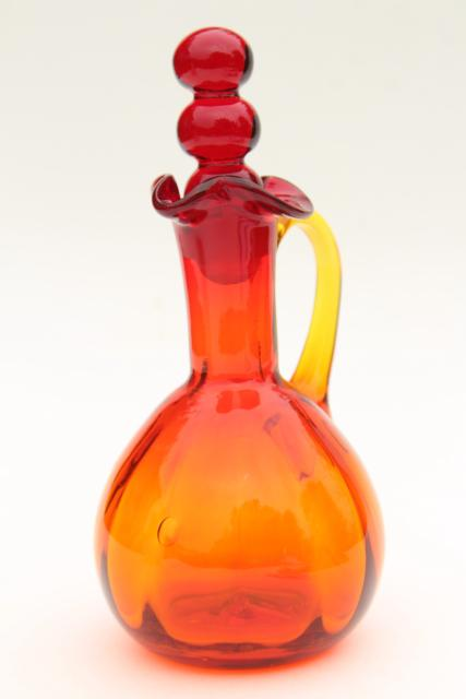 vintage Blenko amberina glass cruet bottle w/ bubble stopper, retro art glass
