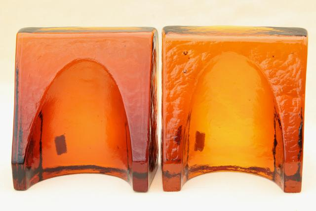 vintage Blenko bookends, root beer amber brown glass arch architectural elements
